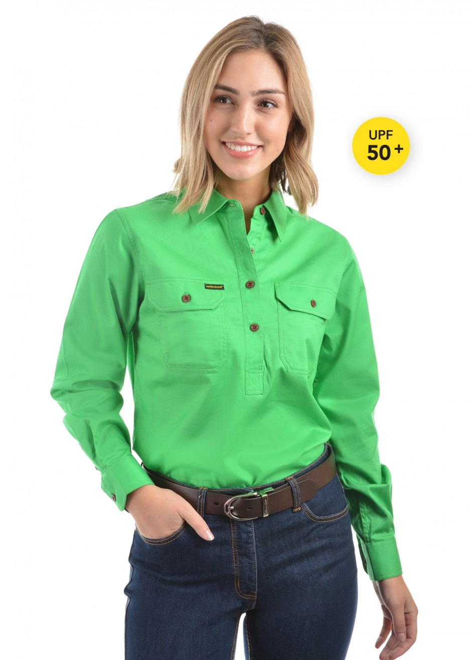 WOMENS HALF PLACKET HEAVY COTTON SHIRT
