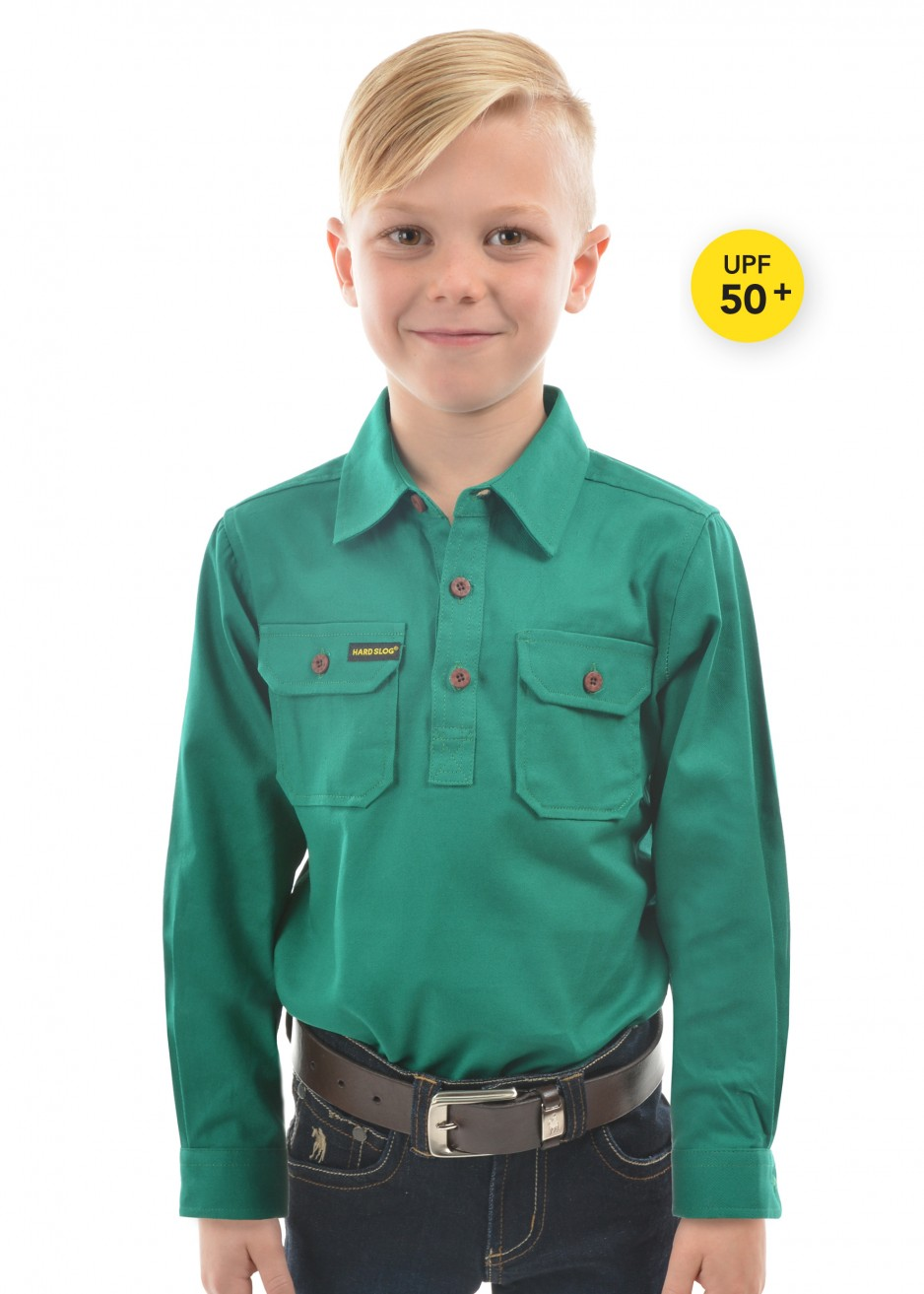 KIDS HALF PLACKET HEAVY COTTON SHIRT
