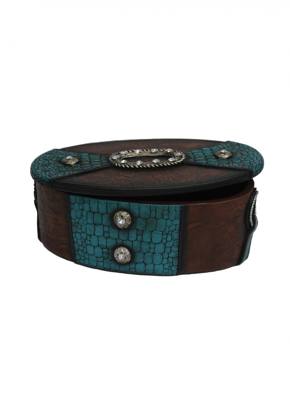 OVAL SNAKESKIN&BLING LARGE JEWELLERY BOX