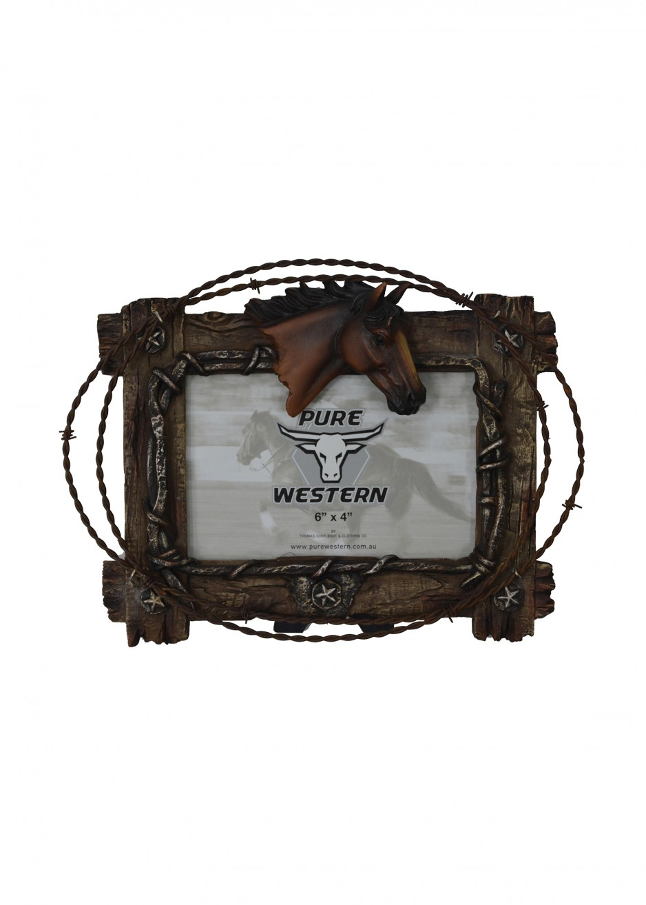 HORSE HEAD & BARB WIRE PICTURE FRAME