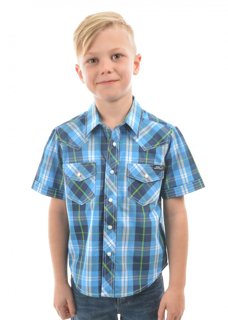BOYS KING CHECK S/S SHIRT