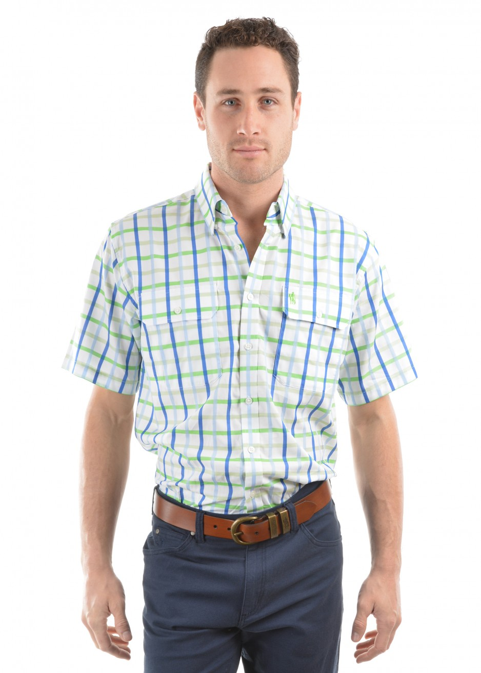 MENS JACK CHECK 2-POCKETS S/S SHIRT