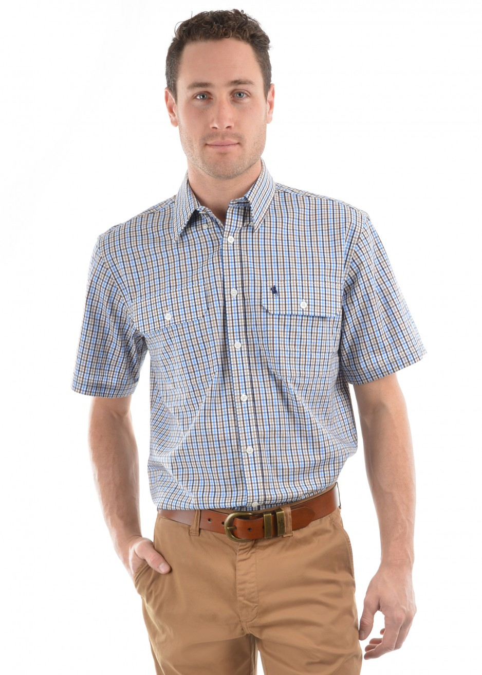 MENS MICK CHECK 2-POCKETS S/S SHIRT