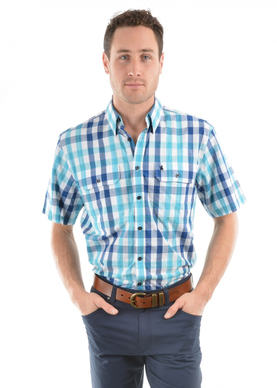 MENS DAVE CHECK 2-POCKETS S/S SHIRT