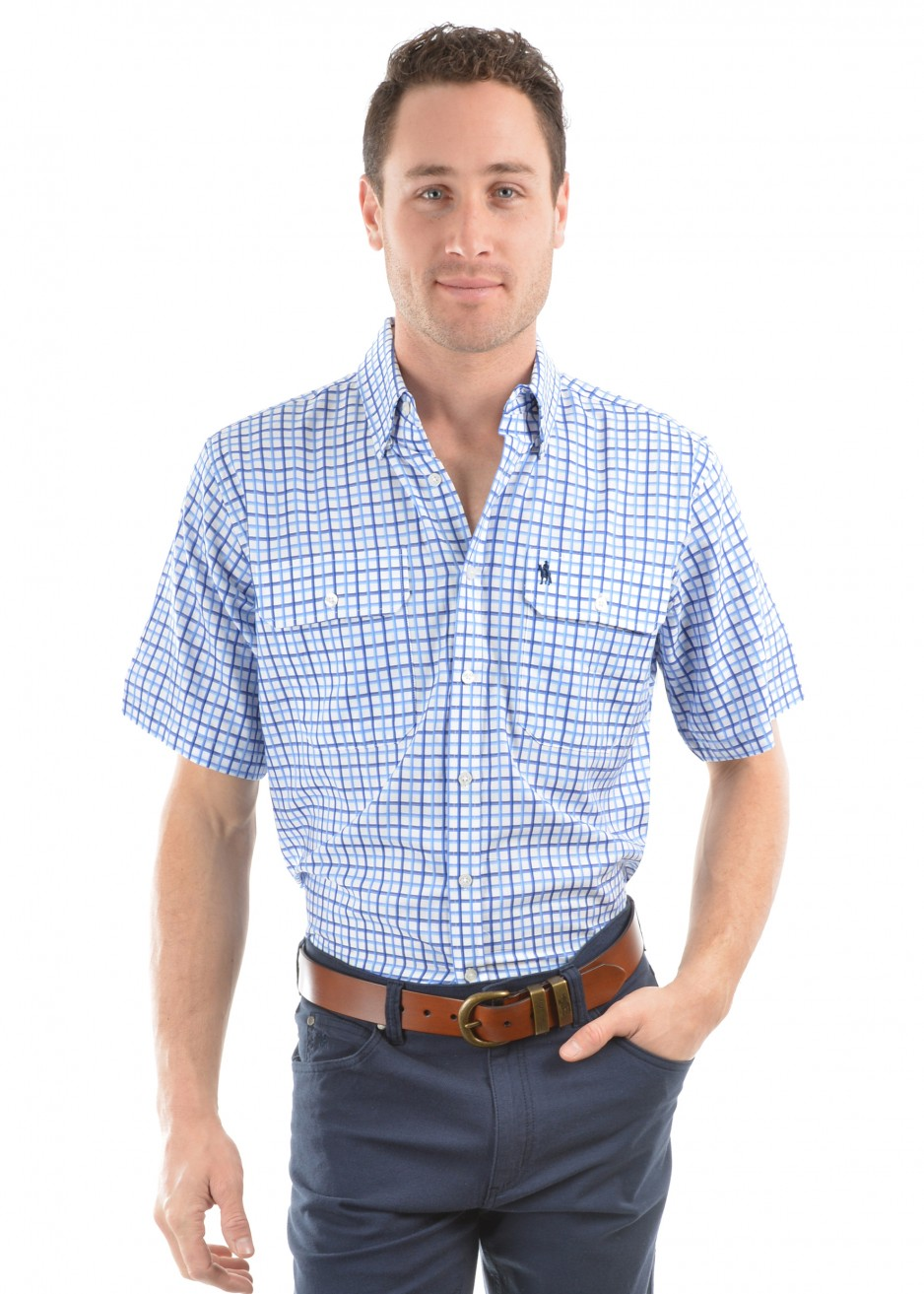 MENS FINN CHECK 2-POCKETS S/S SHIRT