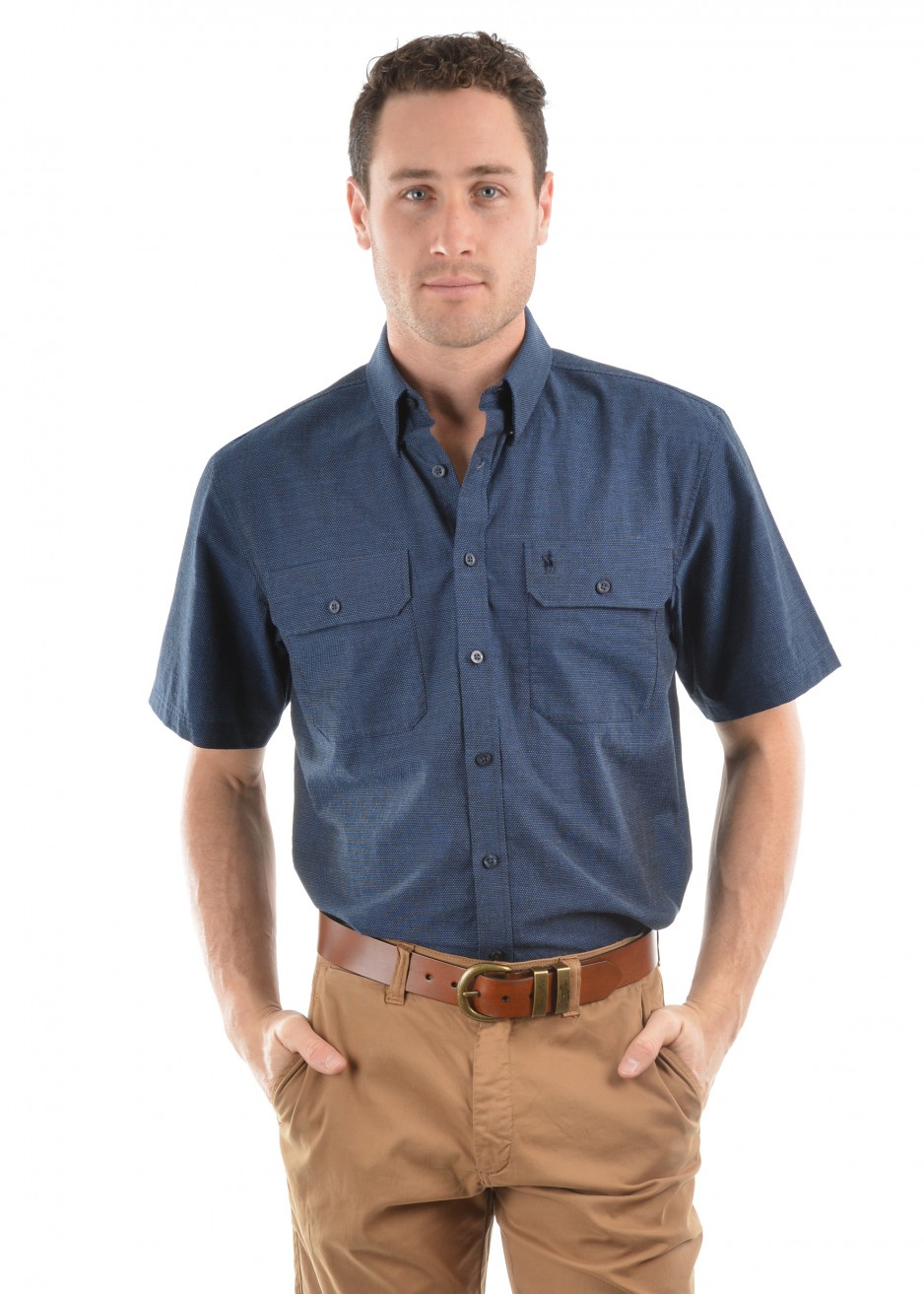 MENS CHAD DOBBY SPOT 2-POCKETS S/S SHIRT