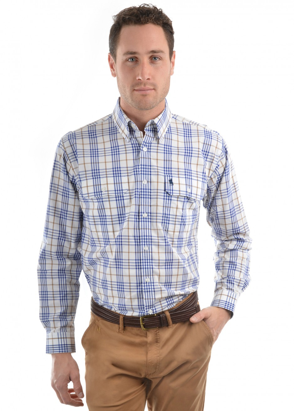 MENS SAM CHECK 2-POCKETS L/S SHIRT