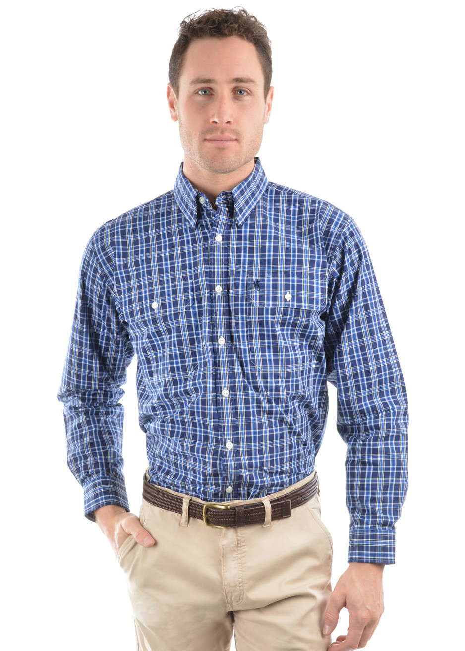 MENS MARK CHECK 2-POCKETS L/S SHIRT
