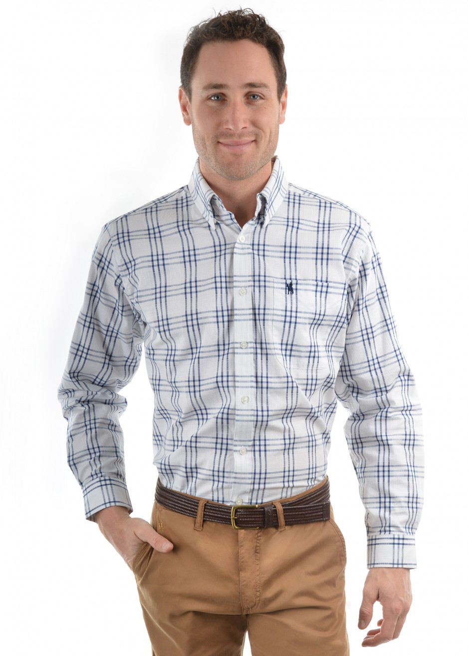 MENS BLAKE CHECK 1-POCKETS L/S SHIRT