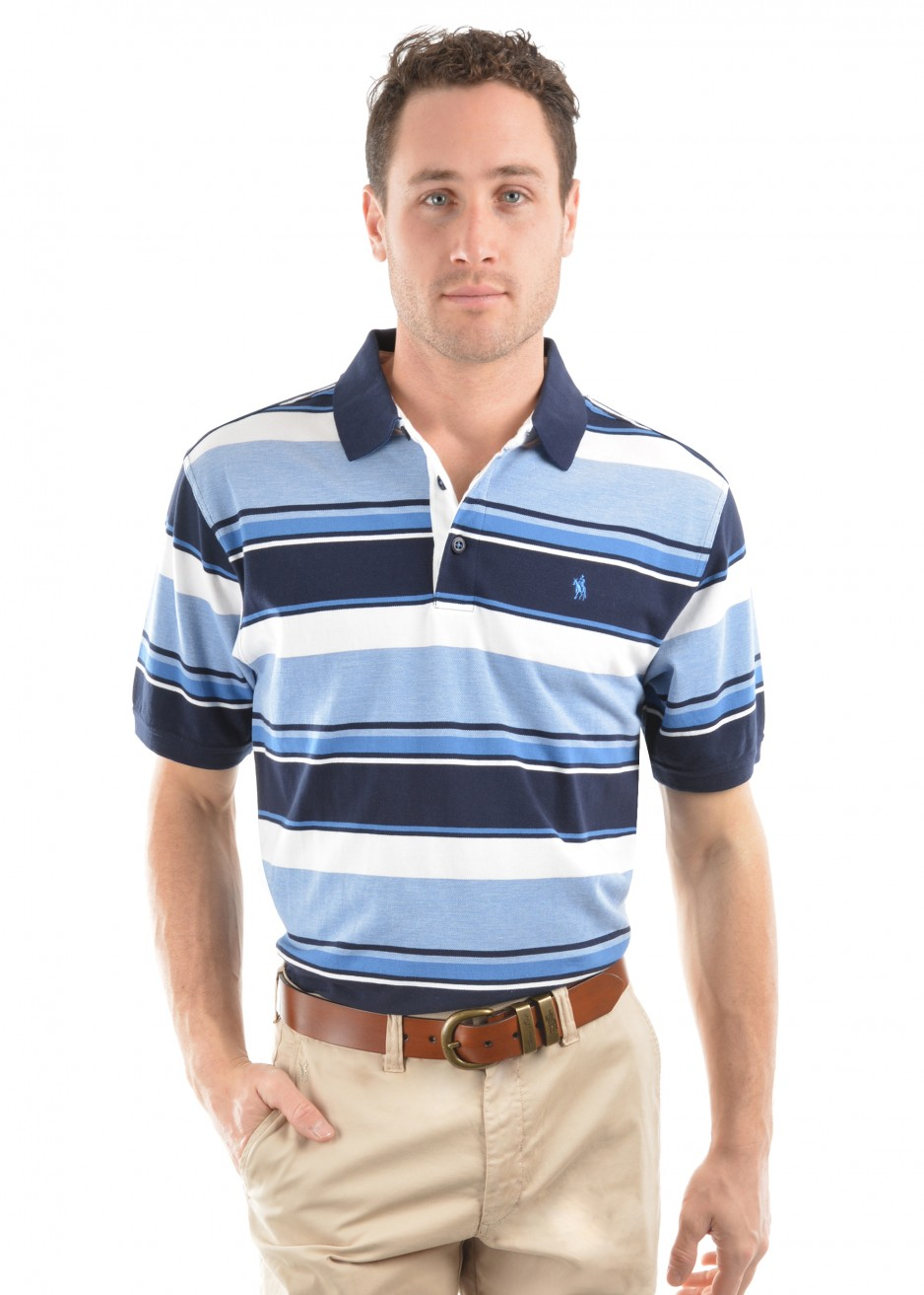 MENS ADAM STRIPE S/S POLO