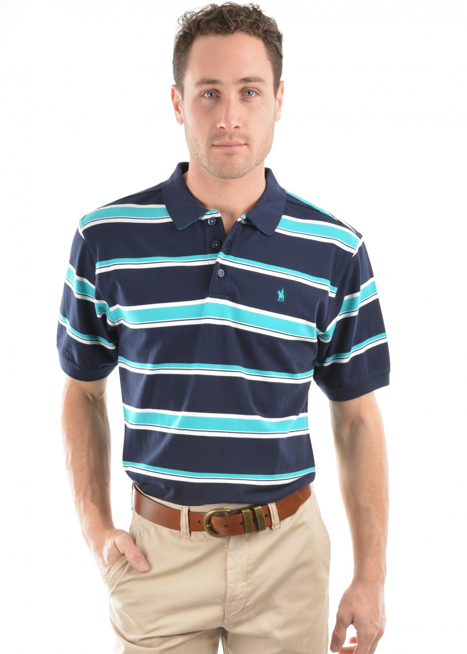 MENS LEO STRIPE S/S POLO