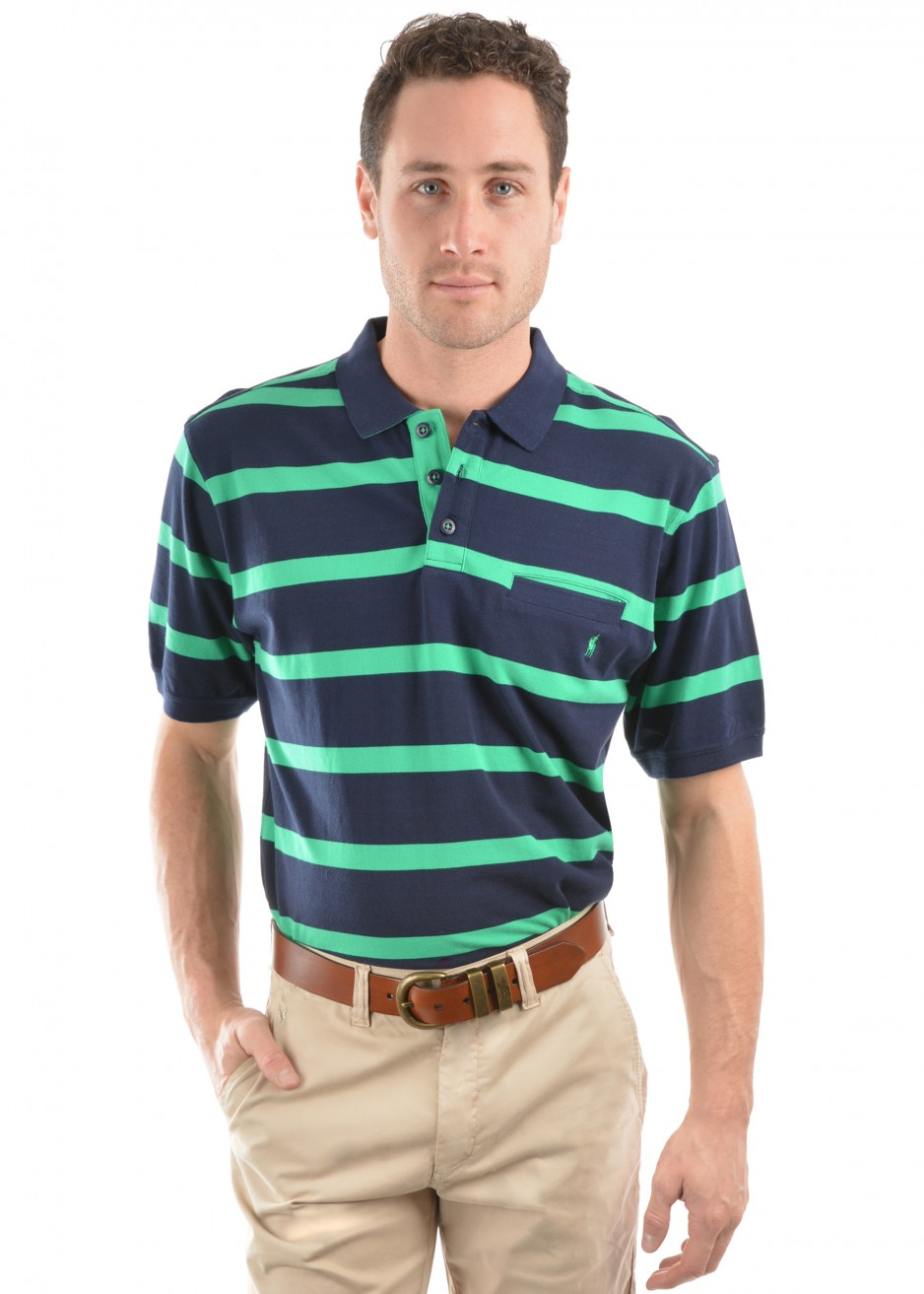 MENS MASON STRIPE 1-POCKET S/S POLO