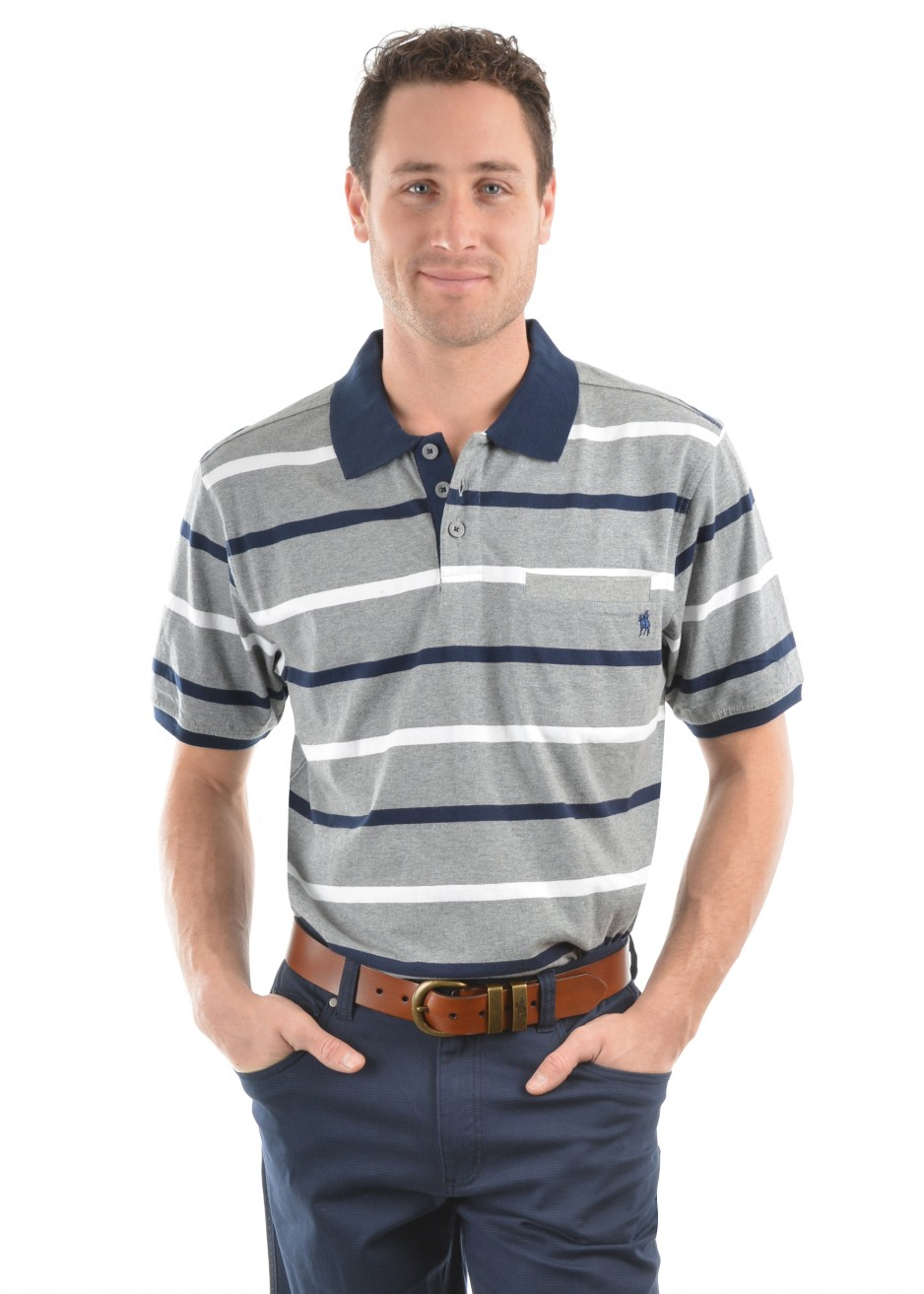 MENS PATRICK STRIPE 1-POCKETS S/S POLO
