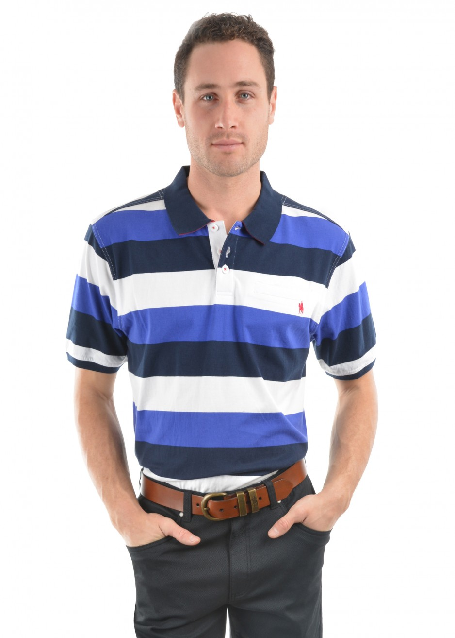 MENS DECLAN STRIPE 1-POCKET S/S POLO