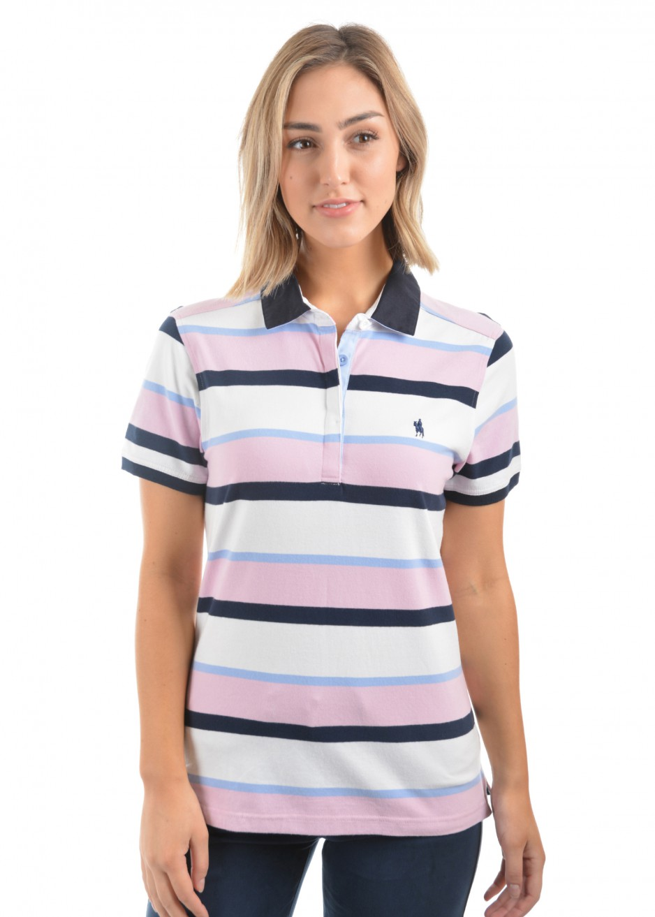 WOMENS BELLE STRIPE S/S POLO