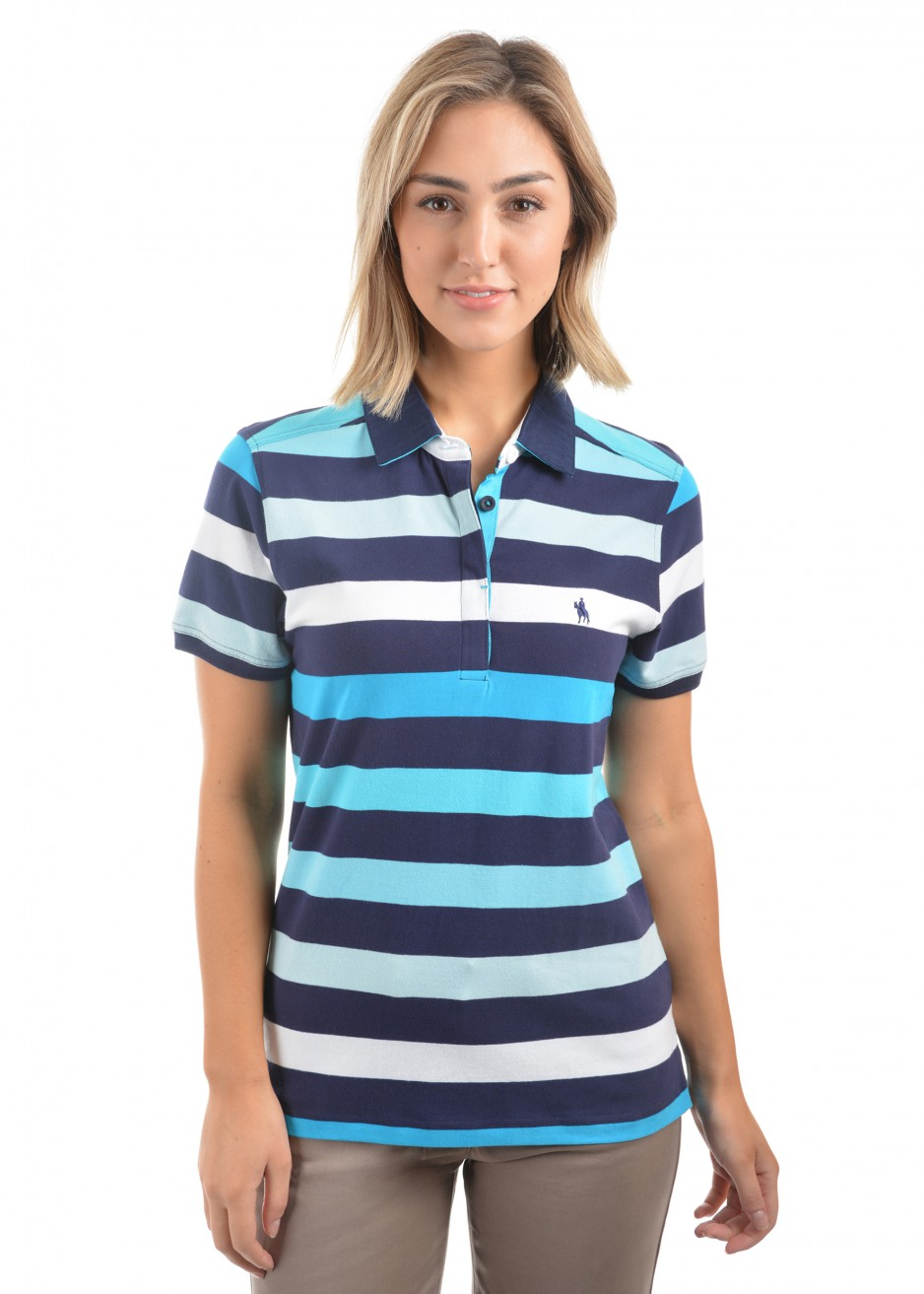 WOMENS LIZ STRIPE S/S POLO