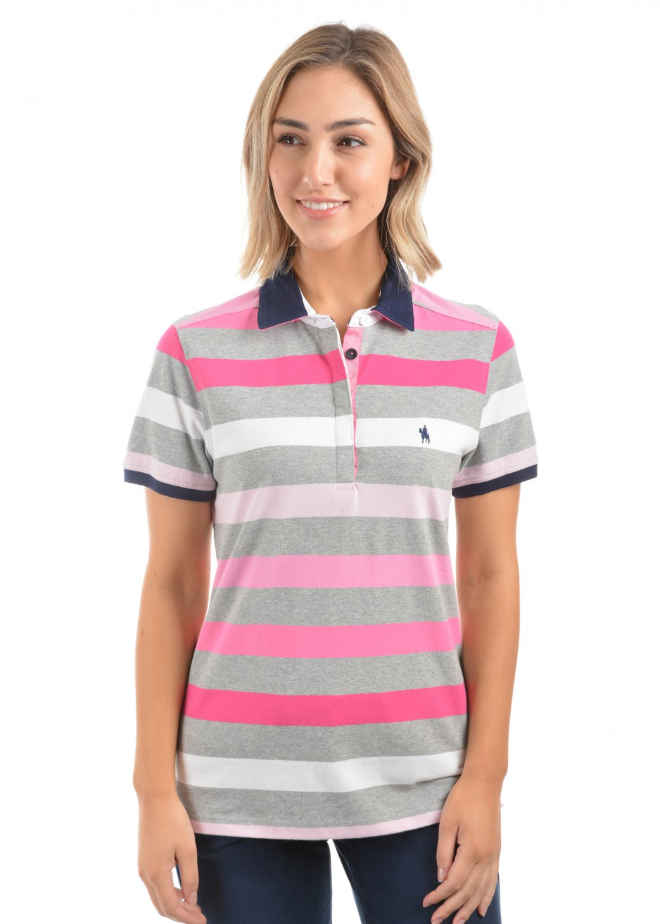 WOMENS KATE STRIPE S/S POLO