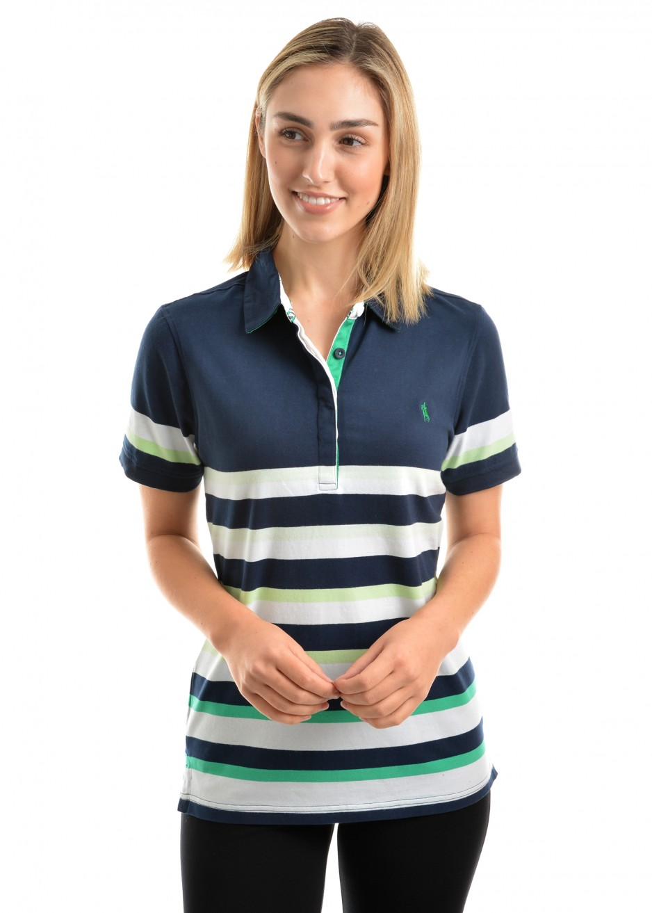 WOMENS EVE STRIPE S/S POLO