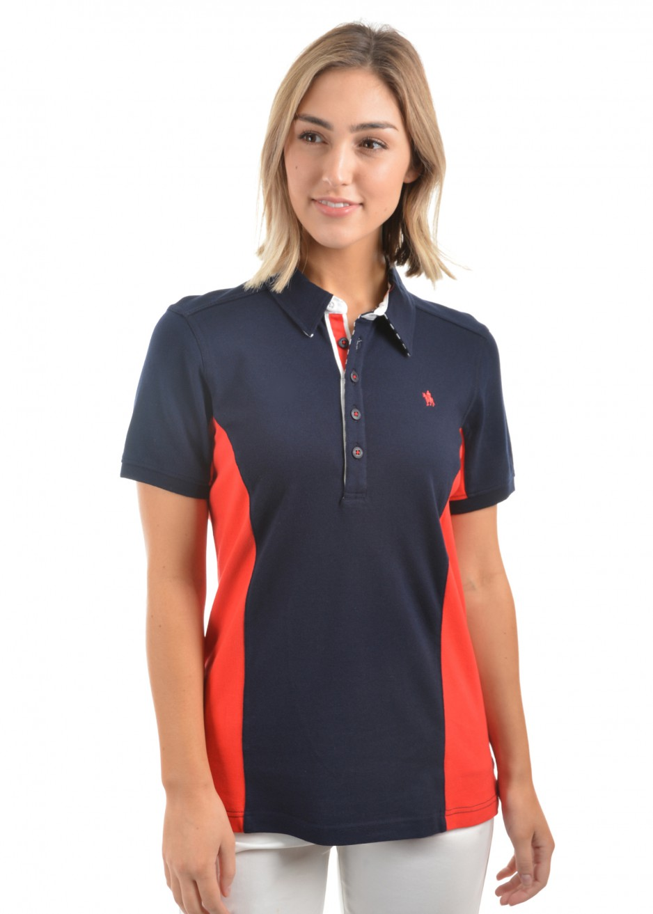 WOMENS BEV PANEL S/S POLO
