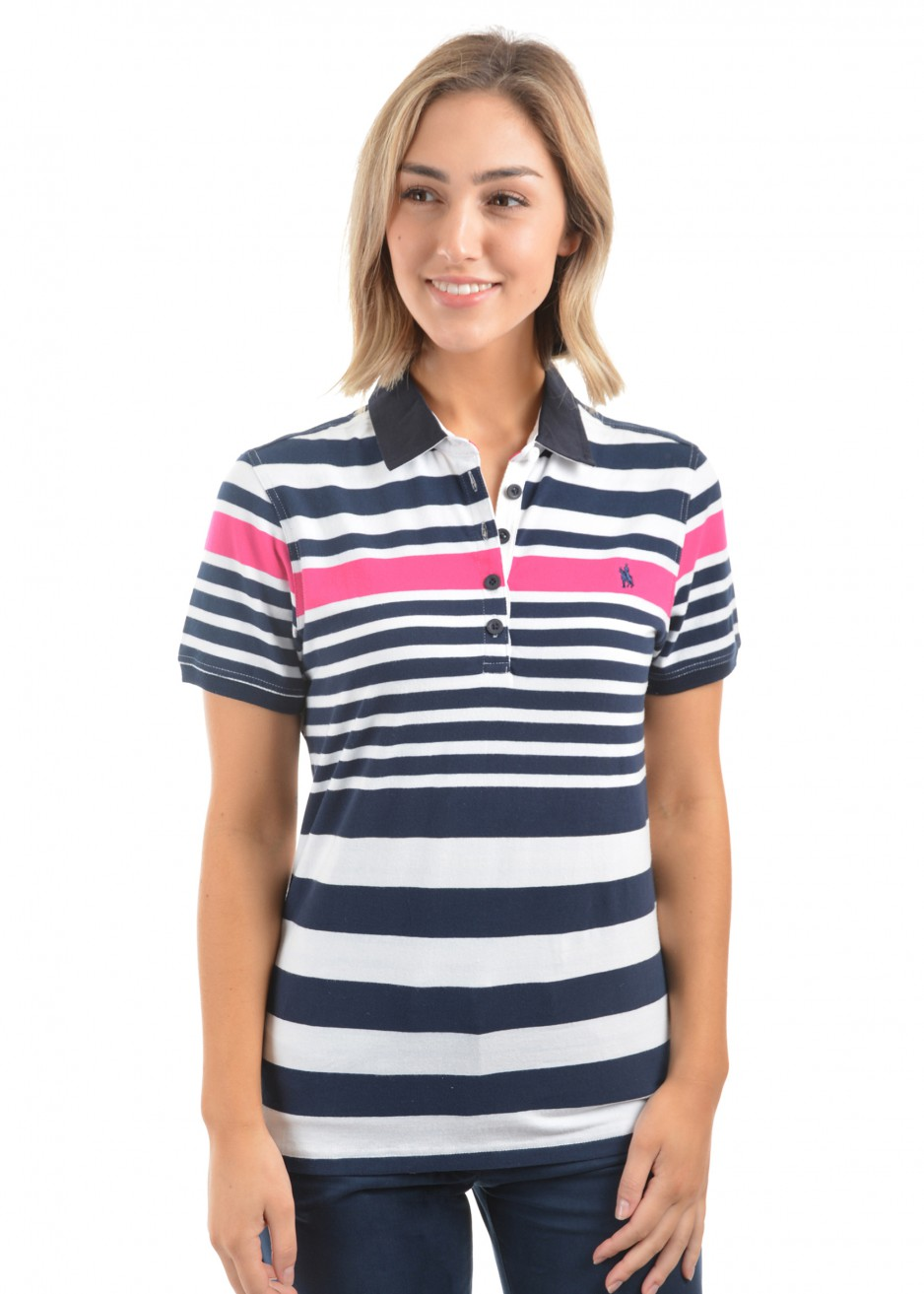 WOMENS DEB STRIPE S/S POLO