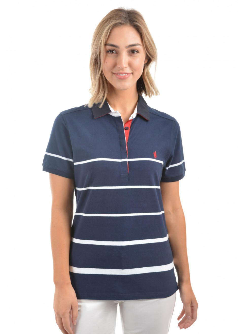 WOMENS JADE STRIPE S/S POLO