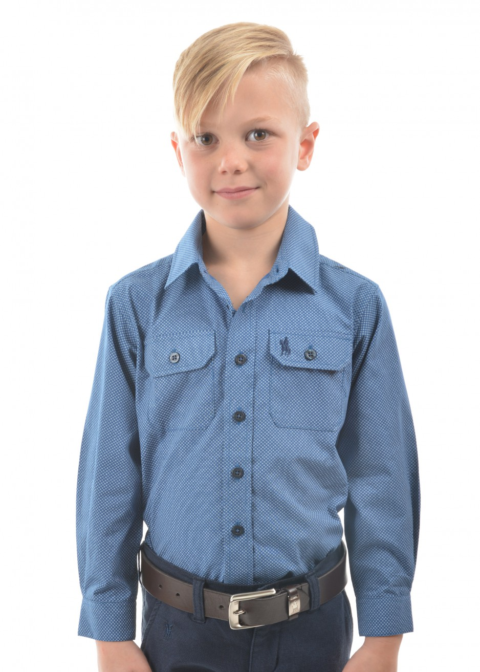 BOYS TOM PRINT 2-POCKETS L/S SHIRT