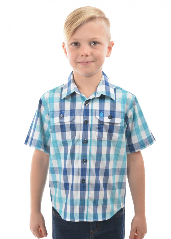 BOYS DAVE CHECK 2-POCKETS S/S SHIRT