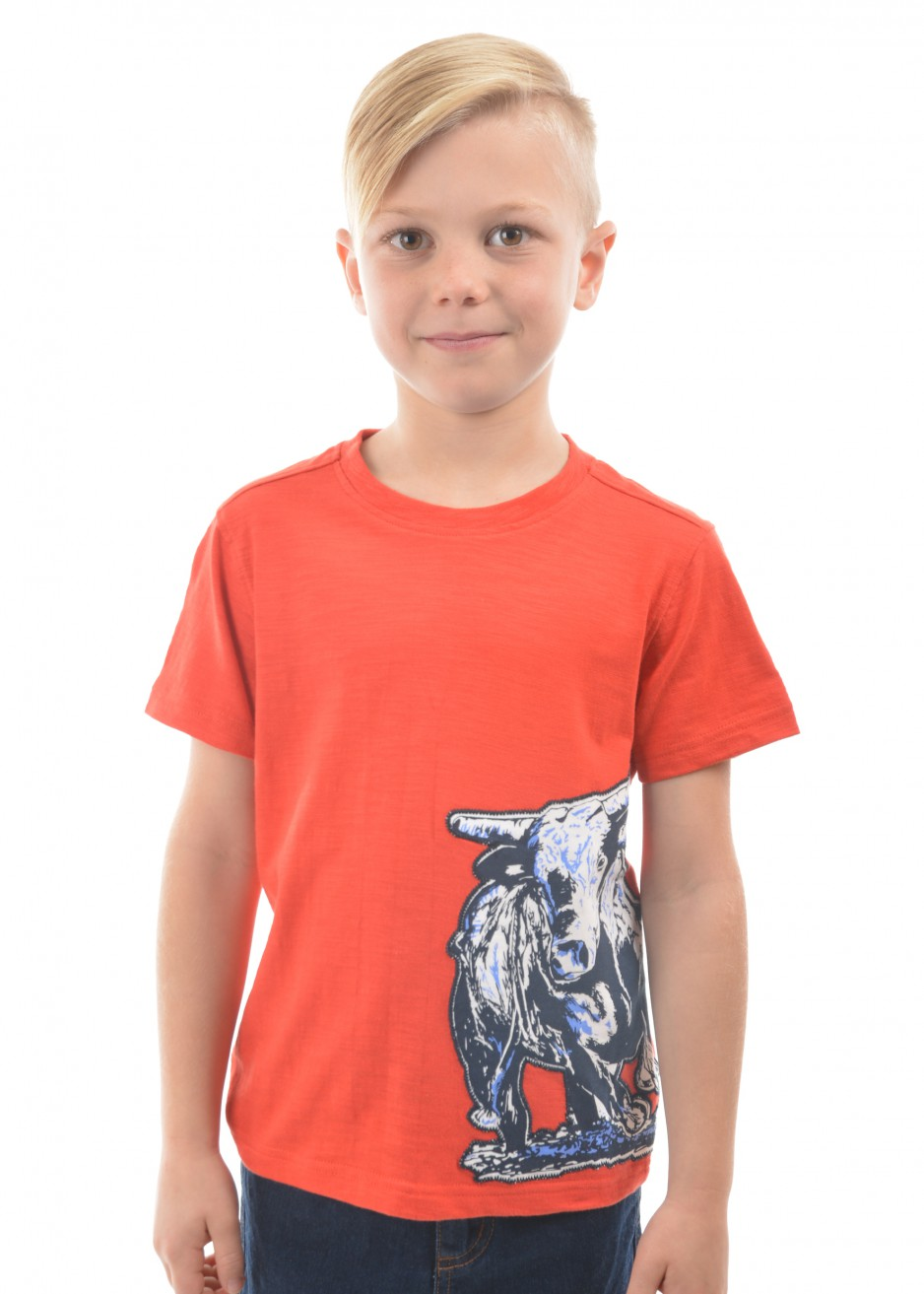 BOYS BULL APPLIQUE S/S TEE