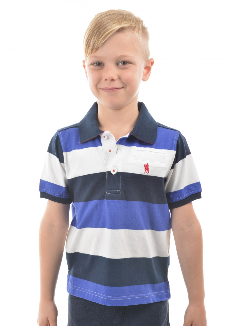 BOYS DECLAN STRIPE 1-POCKETS S/S POLO