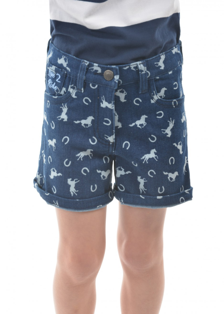 GIRLS HORSE PRINT DENIM SHORTS