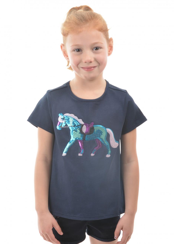 GIRLS SEQUIN HORSE S/S TEE
