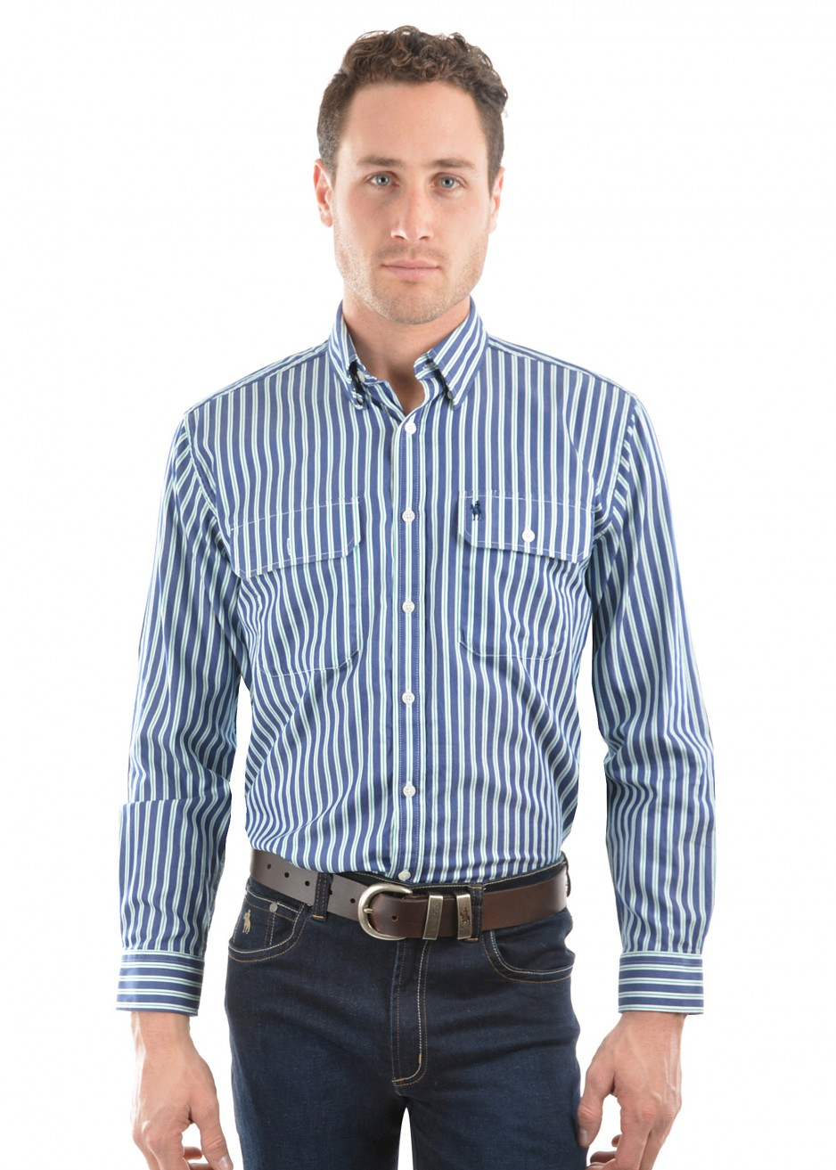 MENS DUTTON STRIPE 2-POCKETS L/S SHIRT