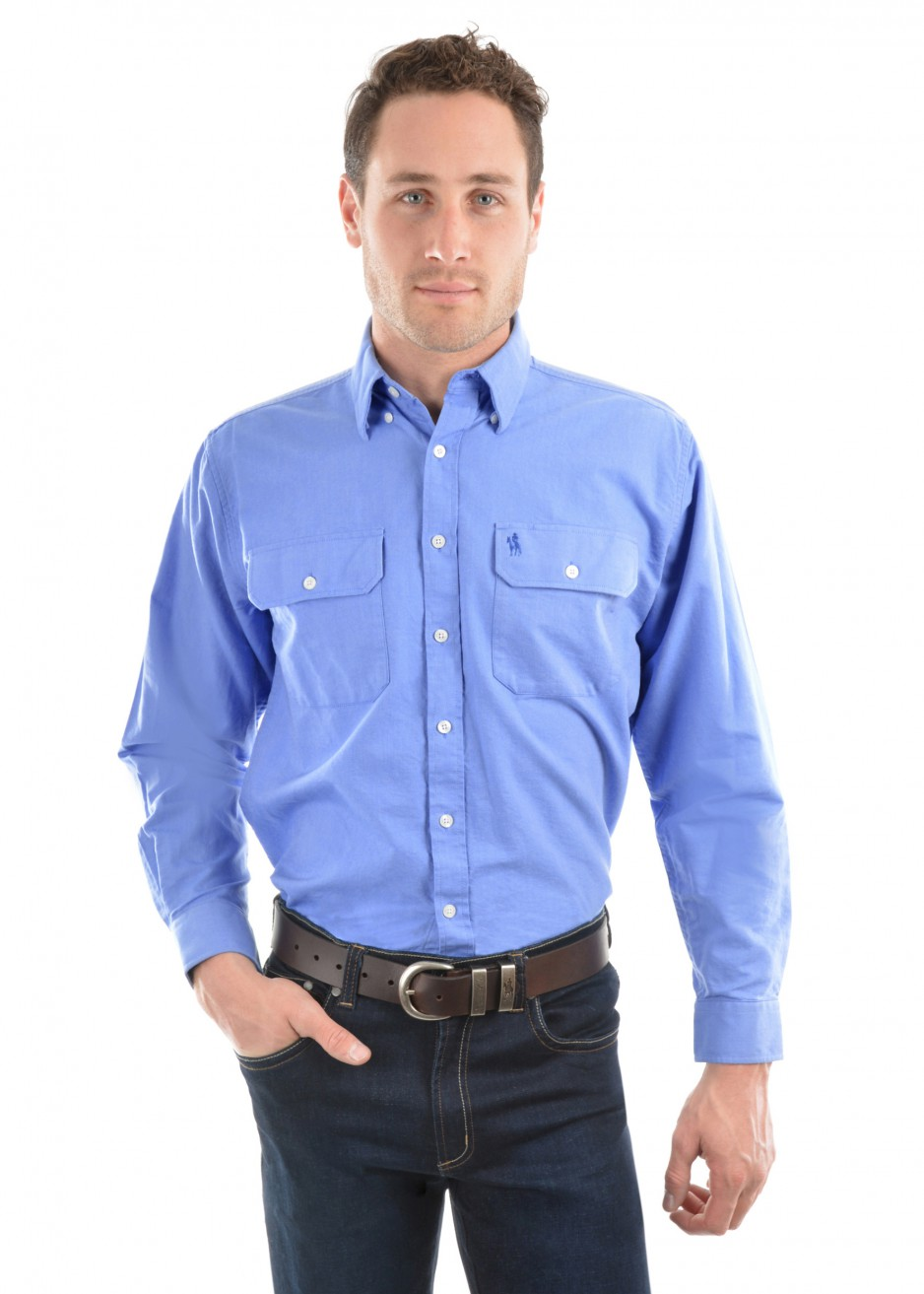 MENS OXFORD 2-POCKETS L/S SHIRT