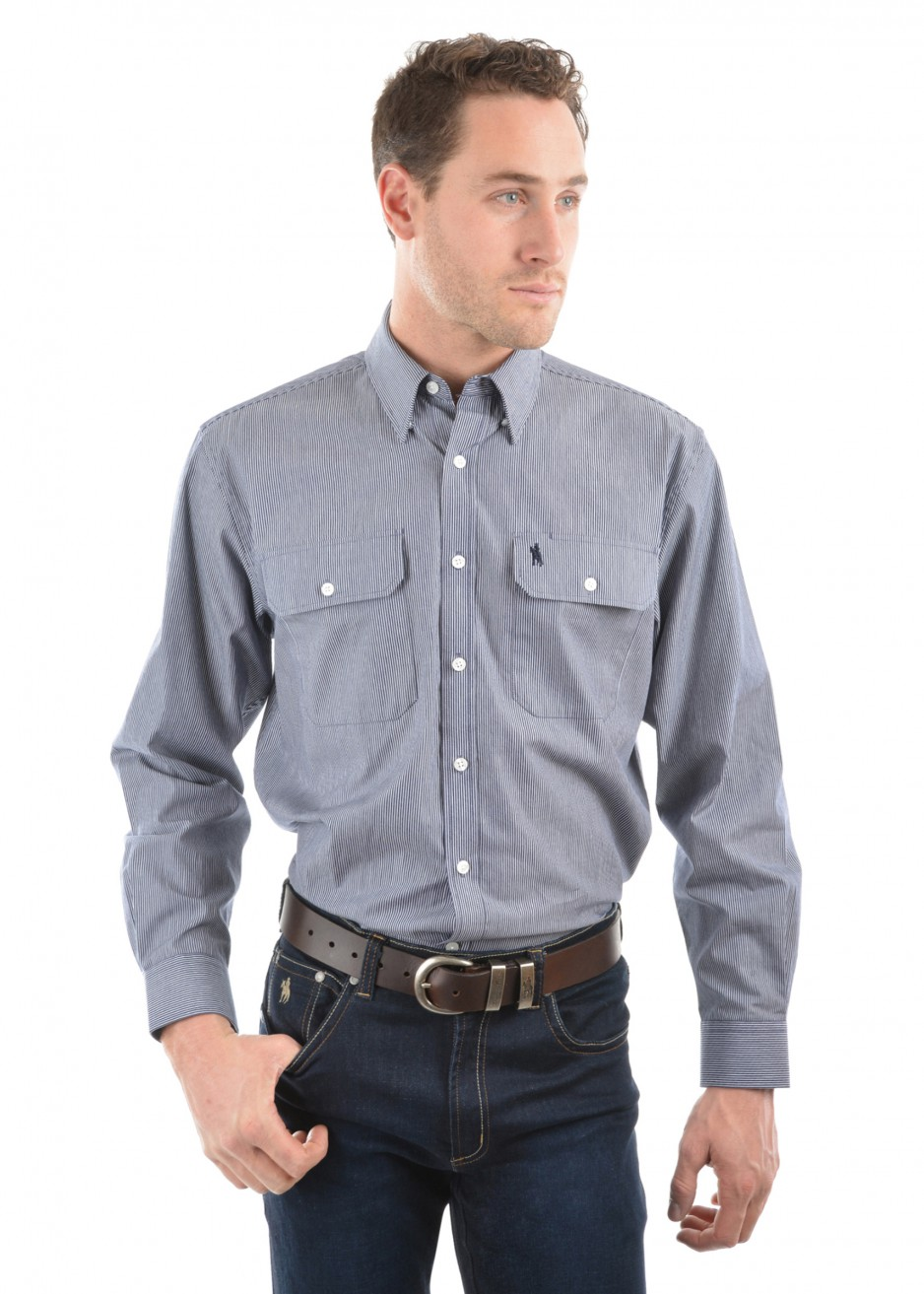 MENS GRAFTON STRIPE 2-POCKETS L/S SHIRT