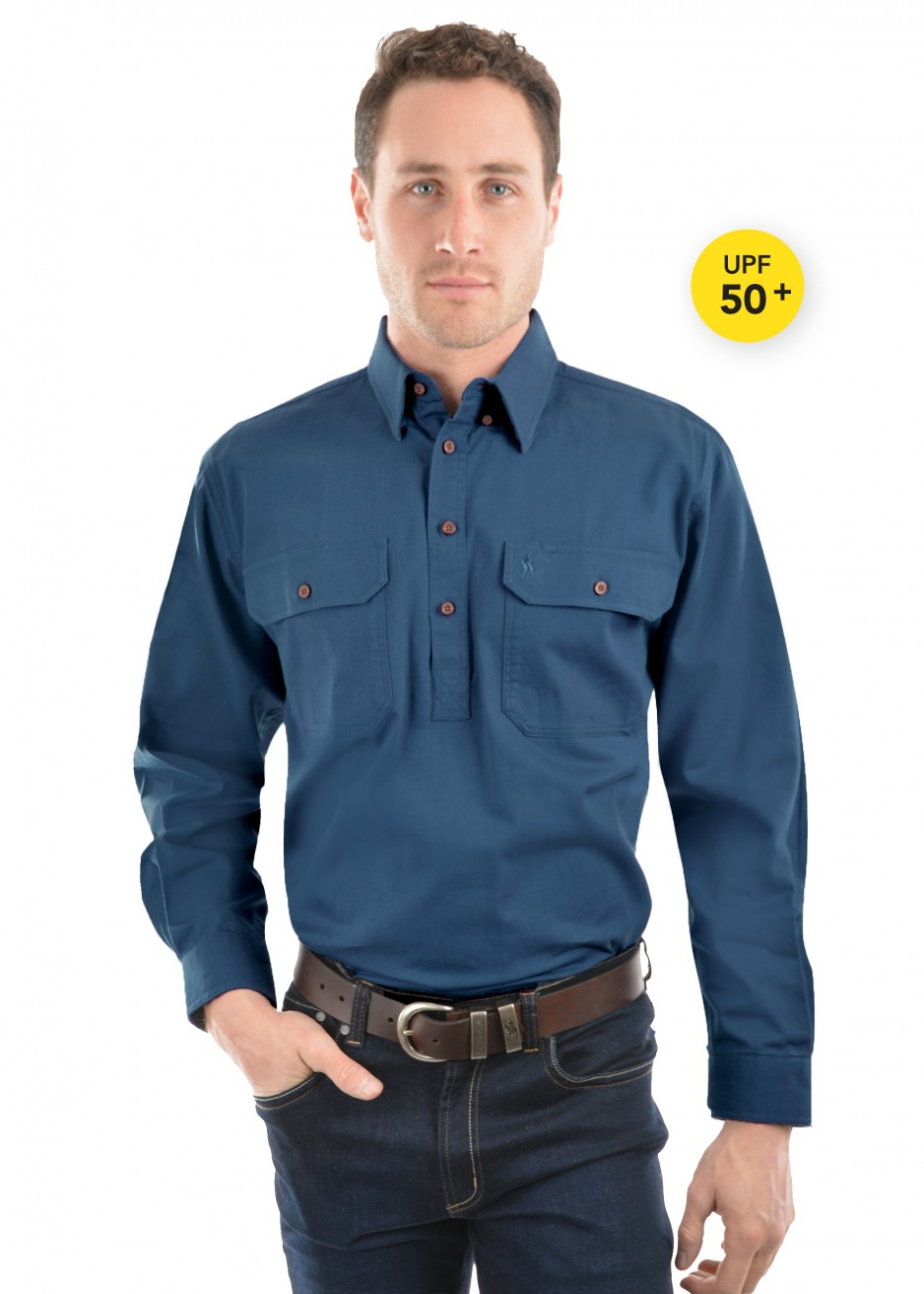 HEAVY COTTON DRILL 1/2 PLACKET 2-POCKETS L/S SHIRT