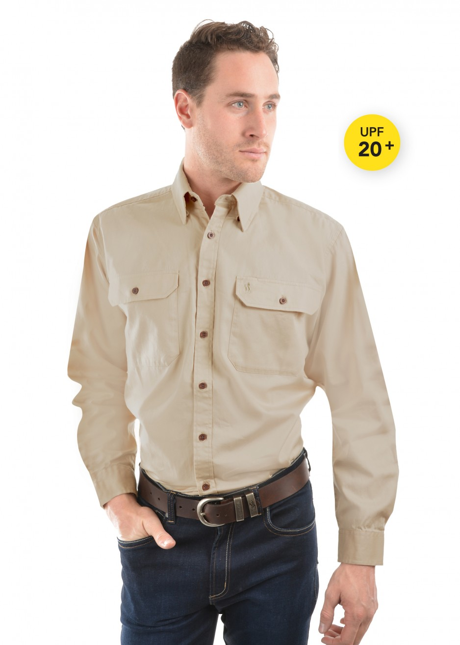 LIGHT DRILL FULL PLACKET 2-POCKETS L/S SHIRT