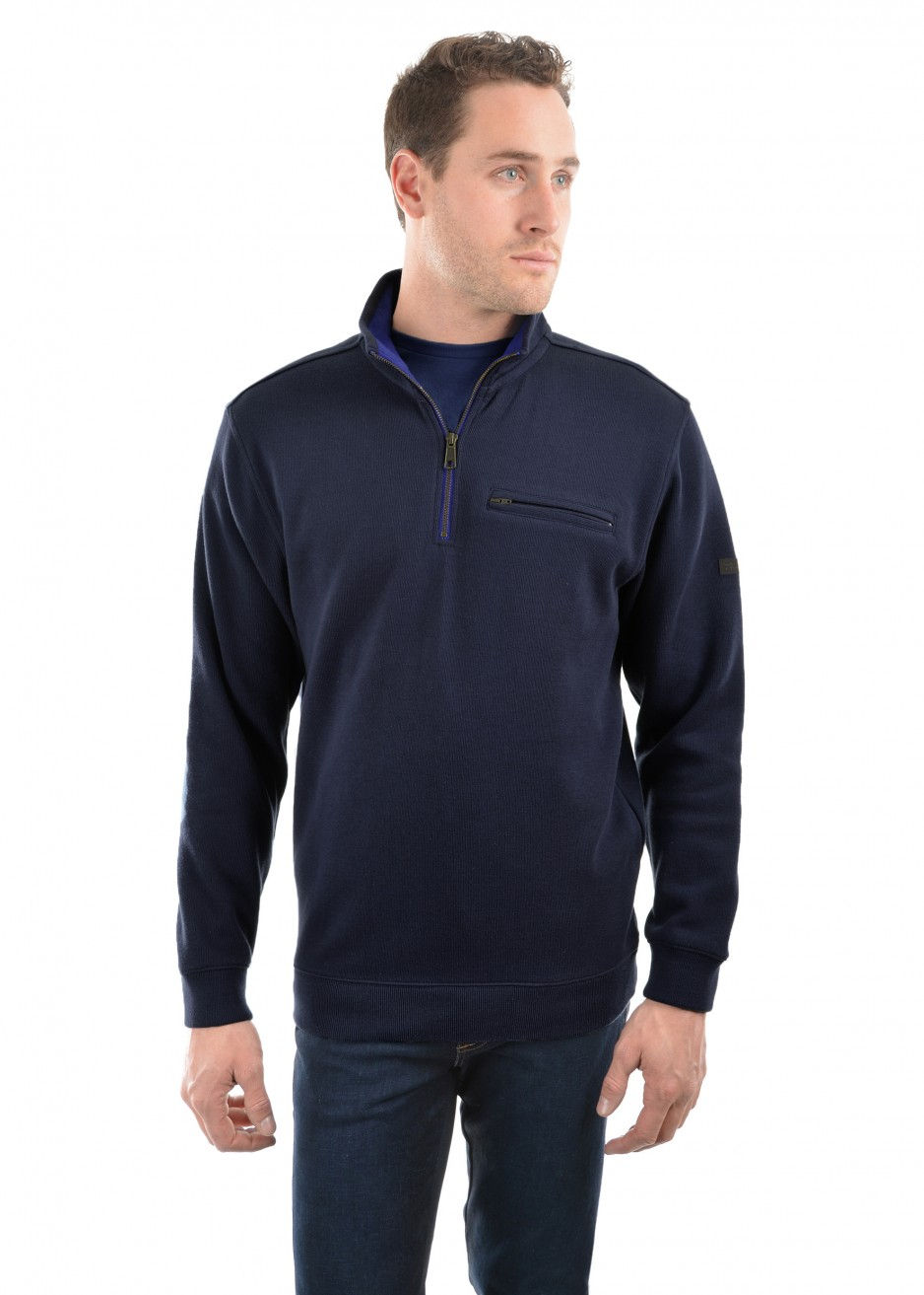 MENS MURRAY 1/4 ZIP NECK 1-POCKET L/S TOP