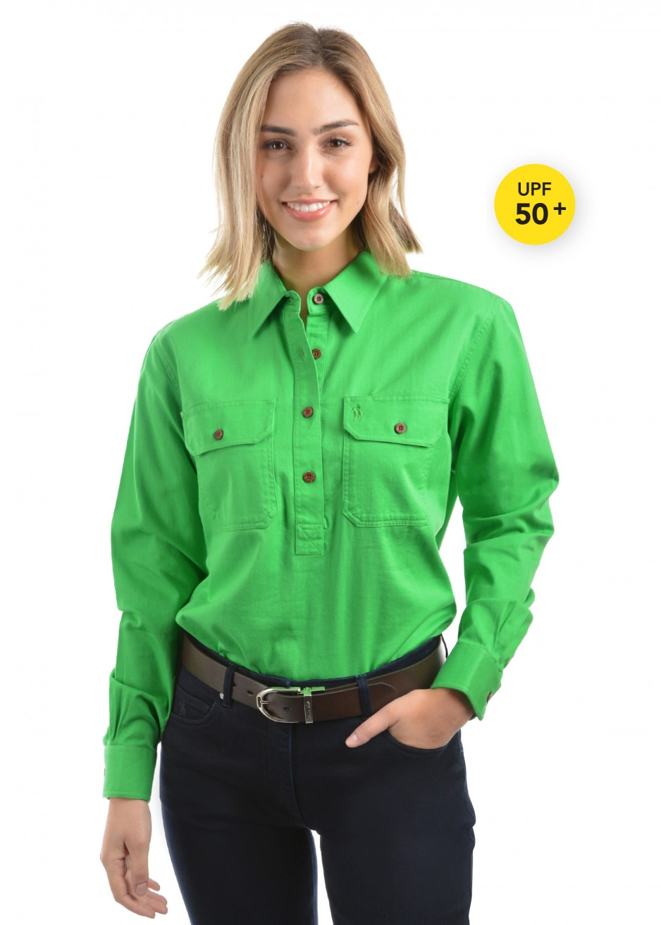 WOMENS HEAVY DRILL 2PKT 1/2 PLACKET L/S SHIRT