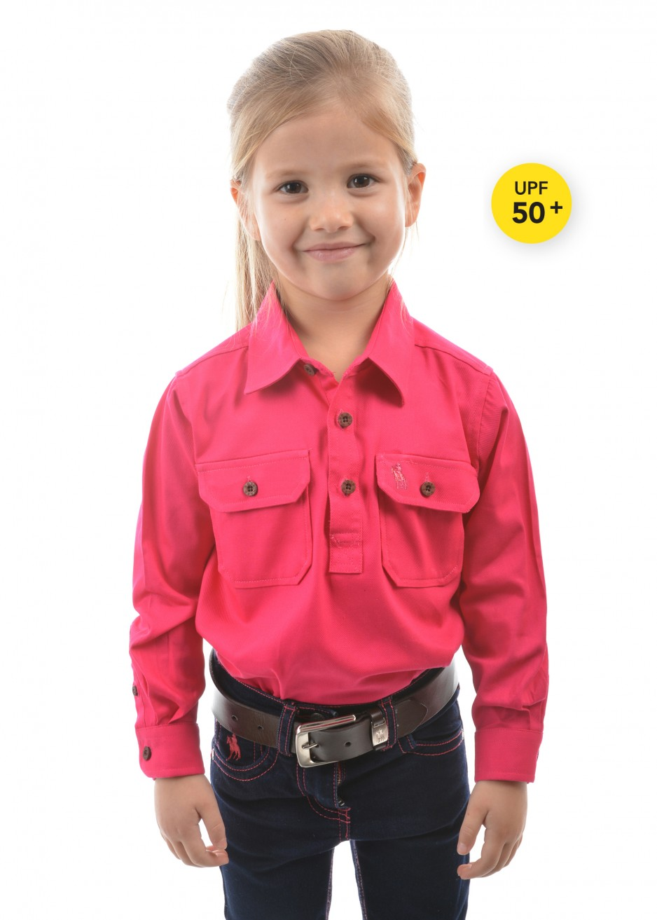 KIDS HEAVY COTTON DRILL 1/2 PLACKET L/S SHIRT
