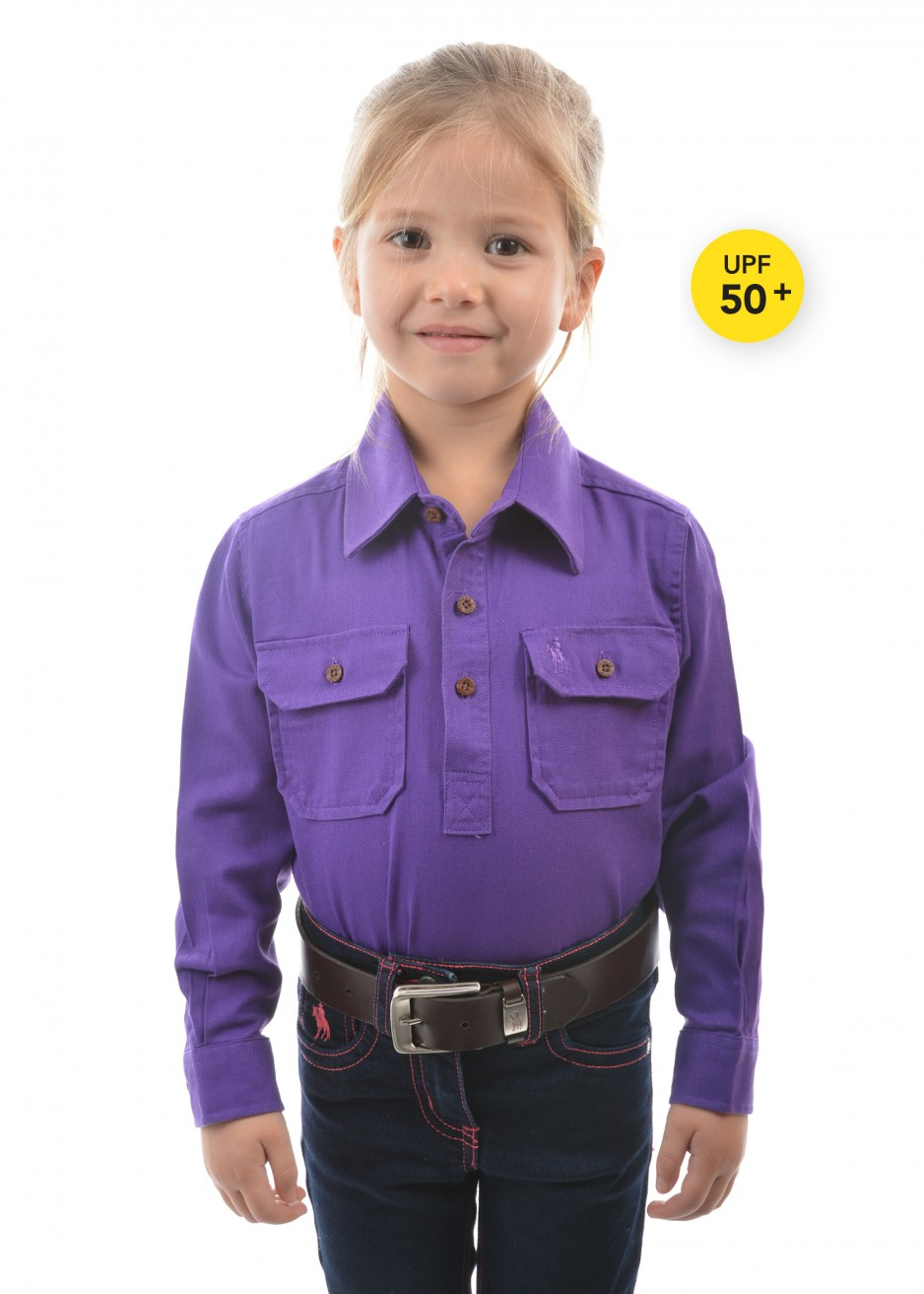 KIDS HEAVY COTTON DRILL HALF PLACKET 2-POCKETS L/S SHIRT