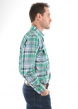 MENS LUKE CHECK 2-POCKETS L/S SHIRT