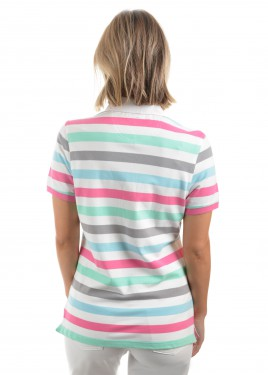 WOMENS GEM STRIPE S/S POLO