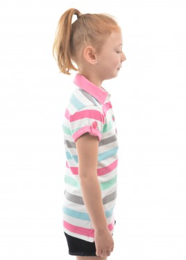 GIRLS GEM STRIPE S/S POLO
